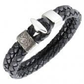 Leather Bracelet with Fingerprint Charm