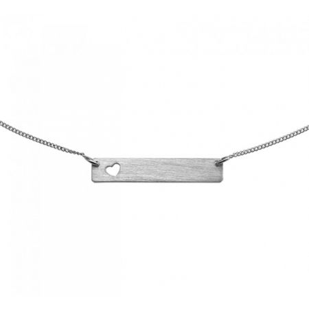 Silver Engravable Charm Necklace with Heart