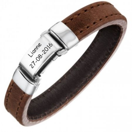 Leather Wrap Bracelet with Engraving