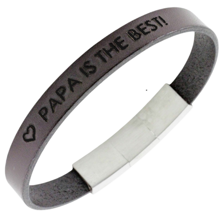 Leather bracelet with name or text