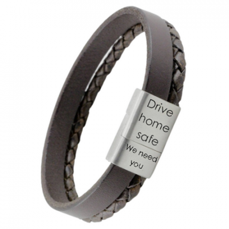 Leather bracelet with laser engraving