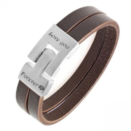 Engravable bracelet - leather - stainless steel
