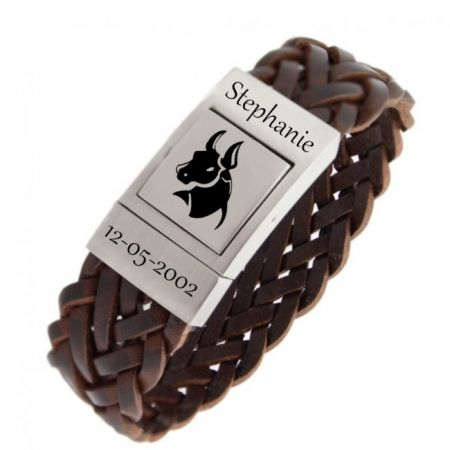 Leather Wrap Bracelet with Starsign Engraving