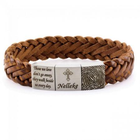 Leather Bracelet with Fingerprint