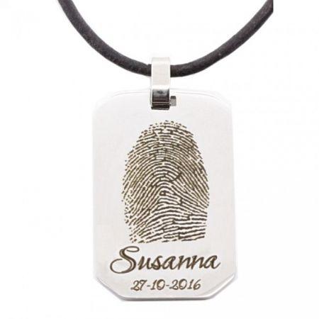Steel Engravable Charm with Fingerprint