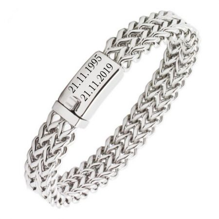 Stainless Steel Bracelet with engraving plate in the shape of a wrench