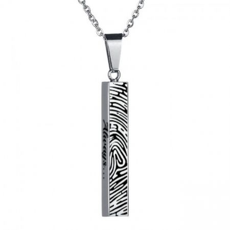 Steel Necklace with Fingerprint Engraving