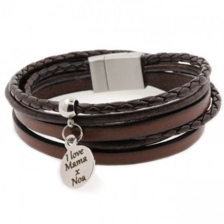 Wrap bracelet with engravable charm